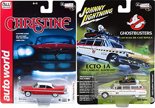 Phantasmal Car Replicas Ghostbusters Ecto-1A 1959 Cadillac Ambulance Exclusive Die-Cast Silver Screens Christine 1958 Plymouth Fury Horror Replica Model Set Limited Edition 2-Pack Johnny - Set Fury Plymouth