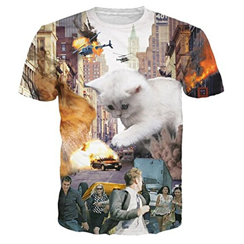 HWHColor Cat Save City Tshirt Cool Graphic Tee Shirt for Juniors,Cat18,Asia XL - US M