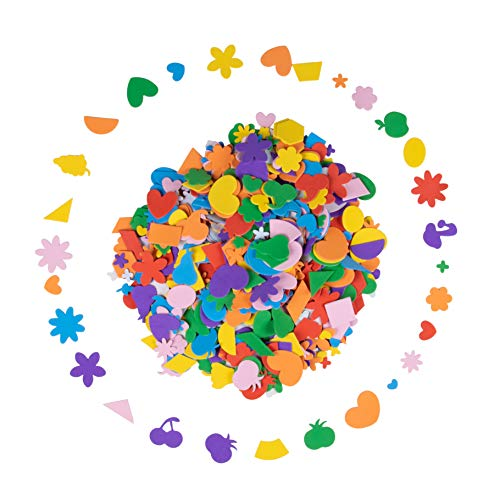 Foam Stickers - 700-Piece Self-Adhesive Foam Shapes, Assorted Shape Kids DIY Arts and Crafts Supplies, Multicolored