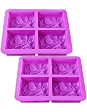 Newk Silicone Soap Molds, 2 Packs 4-Cavities DIY Handmade Soap Mold with Vivid Wave Pattern for Milk Soap (3.5 Oz Cavities)