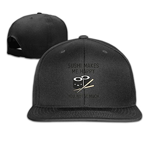 Mominling Sushi Makes Me Happy Men's and Women's Flat Baseball Cap