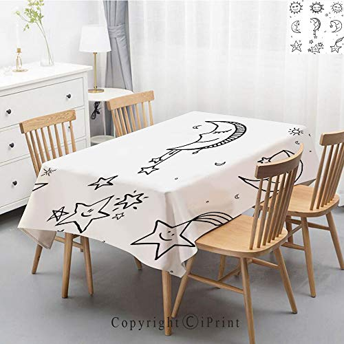 Natural Cotton Linen Rectangle Tablecloth Garden Botanic Print Pattern  Country Rustic Village Burlap Table Cover Cloth Art,55x87 Inch,Sketchy,Hand
