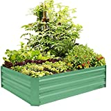 raised planter box plans FOYUEE Metal Raised Garden Bed Kit Elevated Planter Box Outdoor Patio Frame for Vegetables 4' x 3' x 1', Green