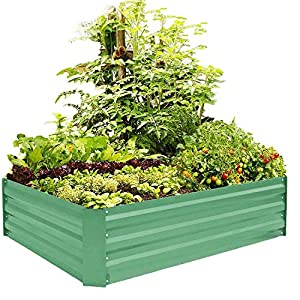 FOYUEE Metal Raised Garden Bed Kit Elevated Planter Box Outdoor Patio Frame for Vegetables 4′ x 3′ x 1′, Green