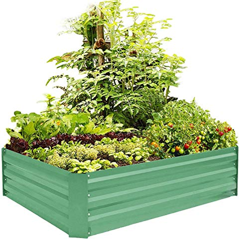 (FOYUEE Metal Raised Garden Bed Kit Elevated Planter Box Outdoor Patio Frame for Vegetables 4' x 3' x 1', Green)