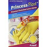 Princess Picot Rubber Gloves Medium (12 Pairs), 12 Count