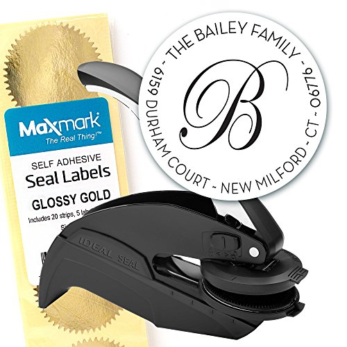 (Custom Monogram Address Embosser - Personalized Round Seal with 50 Gold Seal Labels - Style EM028)