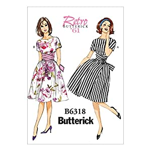 1960s Sewing Patterns- Dresses, Tops, Pants etc 1961 Dresses Butterick Patterns B6318 Misses Tie-Waist Dress Size A5 (6-8-10-12-14) $7.68 AT vintagedancer.com