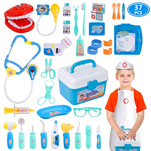 Gifts2U Toy Doctor Kit, 37 Pieces Kids Pretend Play Toys Dentist Medical Role Play Educational Toy Doctor Playset for Boys Ages 3-6 -