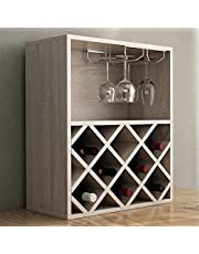 SogesGame Wood Ancona Wine Cabinet,Wine Rack Table with Glass Holder,