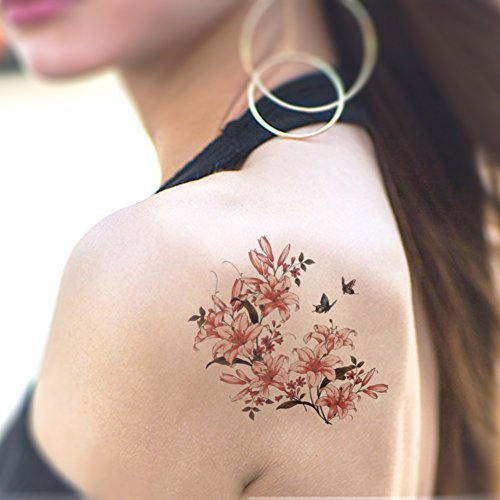 TAFLY Fake Tattoo Flower and Birds Temporary Tattoo Waterproof Body Sticker 5 Sheets