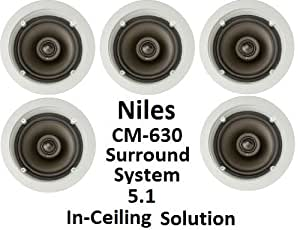 Niles 5.1 Ceiling Mount Surround Sound System - (Set of Five) CM630 2-Way 6-inch Speakers with Pivoting Directable Tweeters. Fully Paintable Grille and Flange to Match Any Decor.