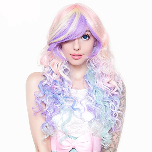 - RockStar Wigs® Rainbow Rock Long Curly Hair Prism 2 (Pastel) Wig -00219