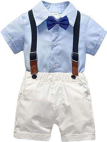 Bebé Niño Conjuntos Gentleman Ropa Camisa Manga Corta + Bowtie + Suspender + Pantalones Cortos Traje de 4 Piezas: Amazon.es: Ropa y accesorios