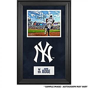 "Aaron Judge New York Yankees Deluxe Framed Autographed 8"" x 10"" Running Out of Dugout Photograph - Autographed MLB Photos"