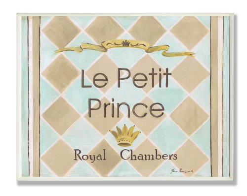 The Kids Room by Stupell Le Petit Prince Royal Chambers Brown And Blue Rectangle Wall Plaque, 11 x 0.5 x 15, Proudly Made in USA Petite Hanging Ornament