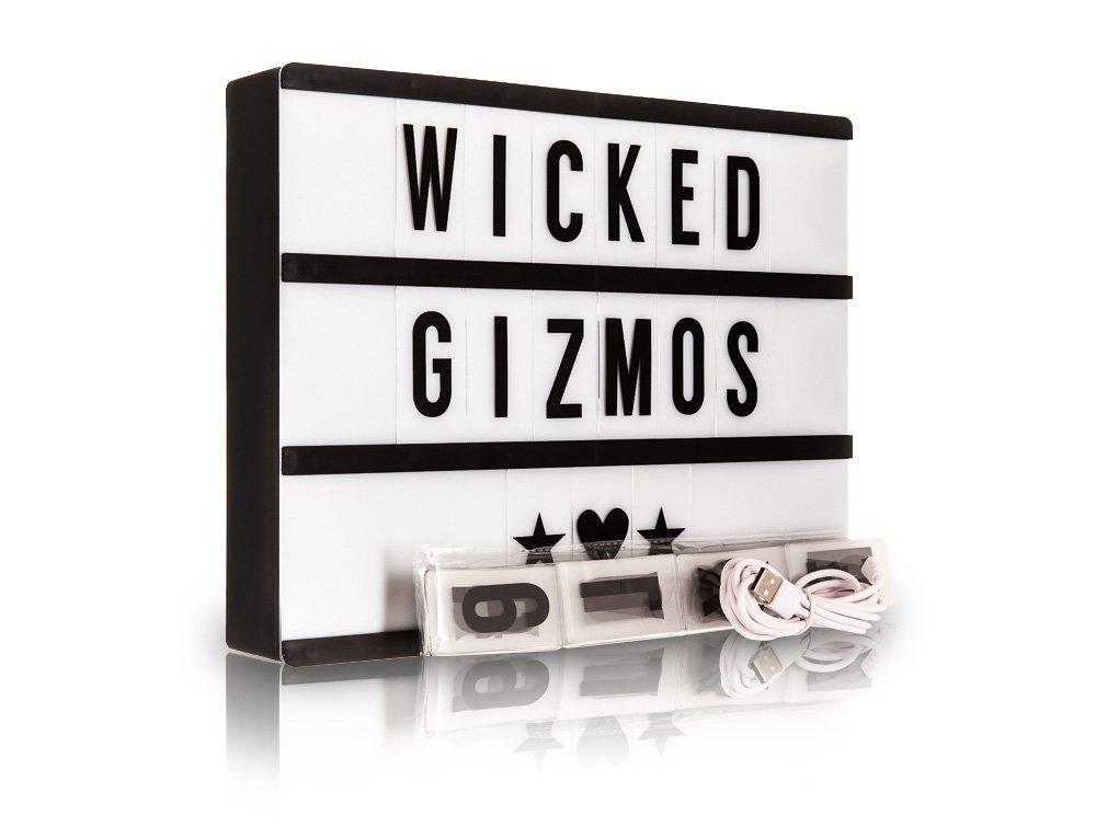 Wicked Gizmos caja de luz, tama/ño A4, luz LED, para bodas y fiestas, incluye 200/letras y n/úmeros y s/ímbolos, recargable v/ía USB Se/ñal luminosa estilo cine