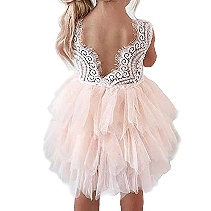 a26cc46c1e8 Baby.YepLittle Girls Lace Backless Dress Baby Flower Girl Princess Lace Back  Tutu A-