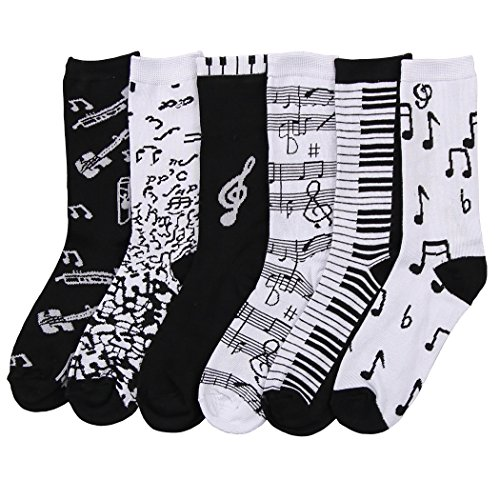 Womens Fun Colorful Crew Sock 6 Packs (Music Notes), One - Socks Music Note