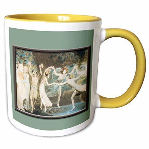 Fairies Dancing Collection (3dRose BLN Fairies Fine Art Collection - Oberon Titania and Puck with Fairies Dancing Willam Blake c. 1785 Fairy Painting - 15oz Two-Tone Yellow Mug (mug_126217_13))
