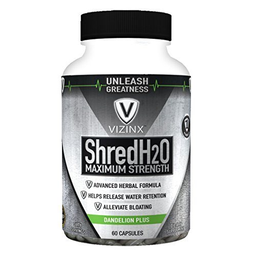 VIZINX Shred H2O Herbal Diuretic - #1 Formula with Dandelion, Green Tea, Cranberry, Apple Cider Vinegar, Buchu, Juniper, Watermelon & More. Supports Healthy Potassium Levels & Water Balance 60 caps.