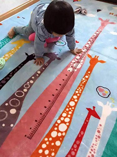 MeMoreCool Colorful Giraffe Cartoon Area Rugs Anti-slip Kids Bedroom Carpet Thicken Baby Crawling Mats Machine Washable Rugs 77 X 79 Inch