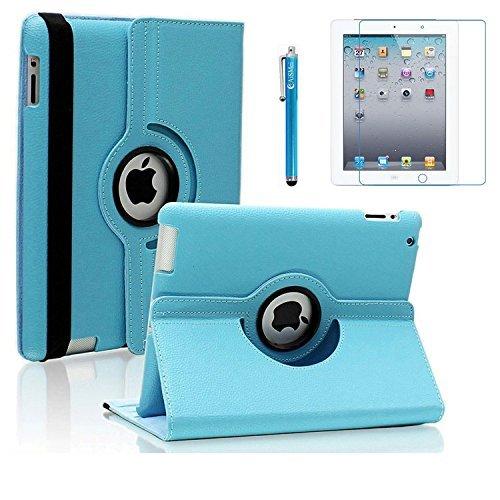 AiSMei Case for iPad 4 (2012), iPad 3 (2012), iPad 2 (2011), Rotating Stand Case Cover for Apple iPad 2, iPad 3, iPad 4 [Bonus Film Stylus] Light Blue
