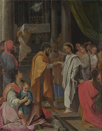 High Quality Polyster Canvas ,the High Definition Art Decorative Prints On Canvas Of Oil Painting 'Ludovico Carracci The Marriage Of The Virgin ', 8 X 10 Inch / 20 X 26 Cm Is Best For Wall Art Decoration And Home Decor And Gifts