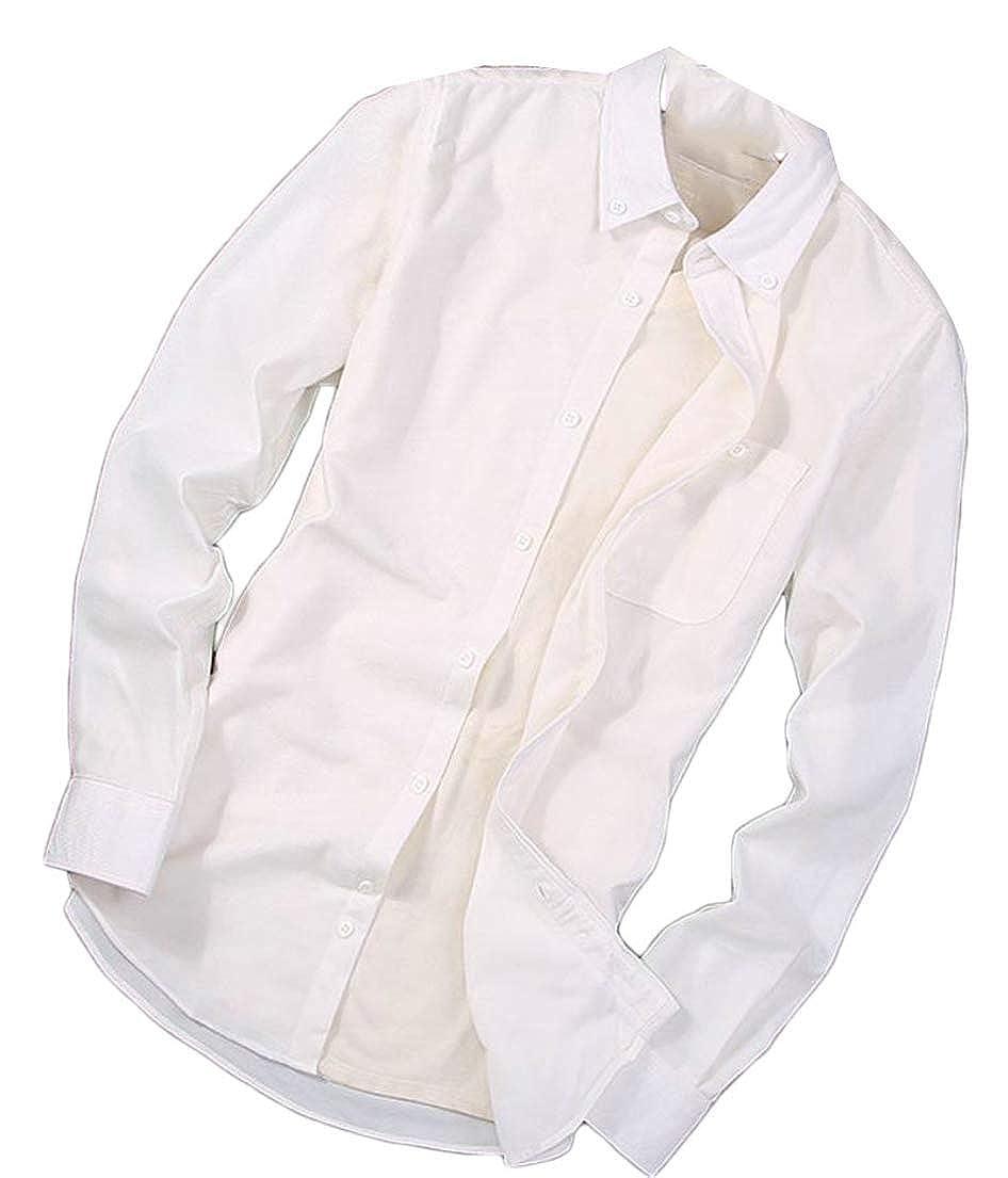 Joe Wenko Mens Corduroy Solid Turn Down Long Sleeve Tops Button Up Shirts