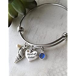 September Birthday Maid of Honor Seashell Bangle Bracelet Wedding Gift