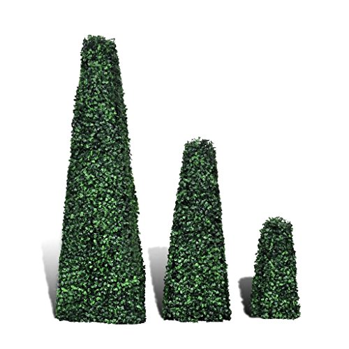 BLXCOMUS 3pcs Outdoor Home Garden Decor Artificial Boxwood Topiary,Pyramid Shape,Mixed Green Handmade Trees Stand With Differernt Size