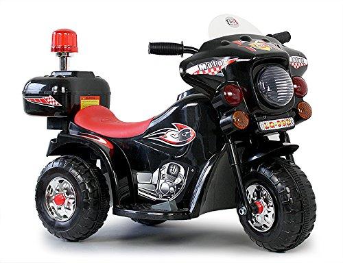 Kindermotorrad Elektromotorrad Kinderfahrzeug Dreirad Kinder Polizei Motorrad in Schwarz