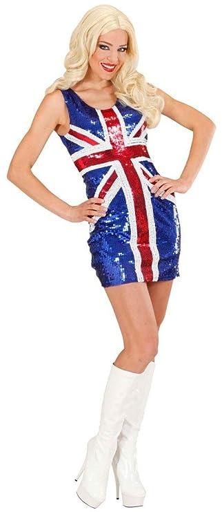 Sexy Partykleid Union Jack mit Pailletten englische Flagge britisch ...