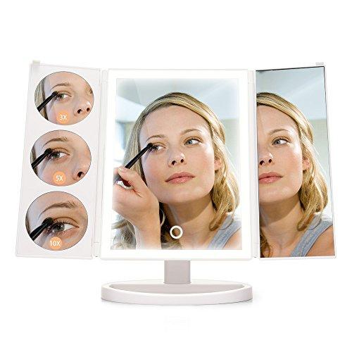 INLIFE Espejo Maquillaje con Luz Pantalla Táctil 38-LED Espejo Cosmético Ajusta luz Aumento 3X / 5X / 10X Rotación...