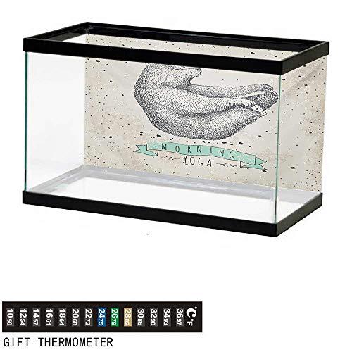wwwhsl Aquarium Background,Yoga,Contemporary Illustration of Meditating Bear on Vintage Background Calm Life,Cream Black Green Fish Tank Backdrop 36
