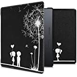 kwmobile Case for Amazon Kindle Oasis 9. Generation - Book Style PU Leather Protective e-Reader Cover Folio Case - White/Black