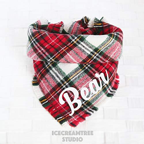 Classic Winter Plaid Bandana - Tie on Classic Flannel Pet Bandana Scarf, Pet Fashion Scarf, Dog Bandana Scarf, Cat Bandana Scarf
