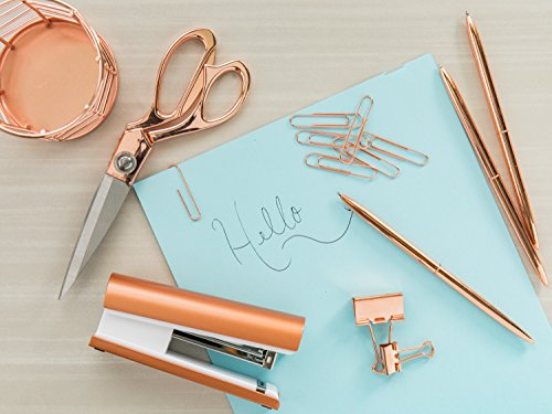 Rose Gold Desk Accessories | 7 Desktop Essentials (44 Items Total) | Office Supply Set & Organizer in Rose Gold Décor by Greenline Goods (Image #7)'