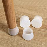 Sinwo 4pc Silicone Table Chair Leg Cap Pad Furniture Table Feet Cover Floor Protector (White)