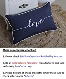 ADecor Pillow Covers Love Lumbar pillow cases pillow covers embroidered cushion couple wedding anniversary P328 (12X20, Navy)