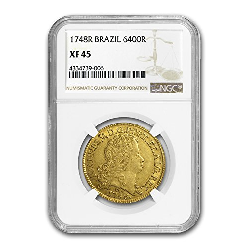 1748 BR R Brazil Gold 6400 Reis Joao V XF-45 NGC Gold XF-45 NGC