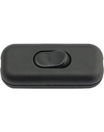 Interruptor de Cable CA 250 V 1 A para l/ámpara de Mesa de rec/ámara luz de Escritorio 2 Qty Black LAQI Inline Interruptor basculante de Encendido y Apagado Doble Negro