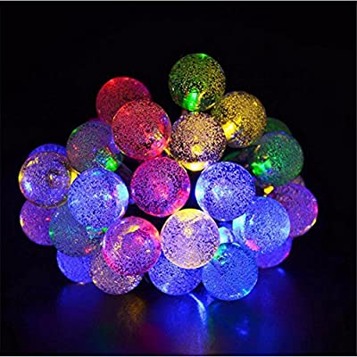 Waterproof Bubble Ball LED Solar String Lights for Christmas Wedding Party Home Decoration Fairy Lights Outdoor Garden Decorations Lights (4 packs)