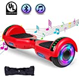 """SWEETBUY Hoverboard UL 2272 Certified 6.5"""" Two-Wheel Bluetooth Self Balancing Electric Scooter with LED Light Flash Lights Wheels RED(Free Carry Bag)"""
