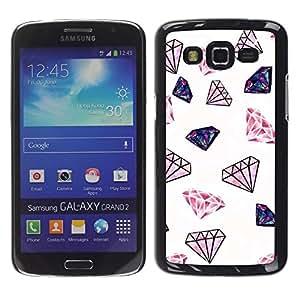 """Pulsar Snap-on Series Teléfono Carcasa Funda Case Caso para Samsung Galaxy Grand 2 II , Diamond Glitter Pink Joyas minimalistas en color blanco"""""""