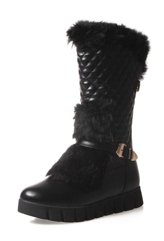 Aisun Women's Warm Comfy Buckle Strap Round Toe Platform Flats Slip On Mid Calf Snow Boots