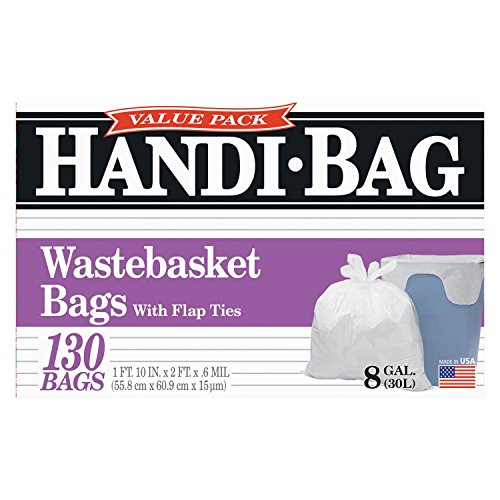 Handi-Bag - Handi-Bag Super Value Pack, 8gal, .55mil, 21 1/2 x 24, White - 130/Box - Trash Bags