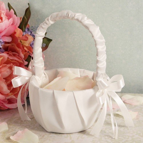 Ivory Satin Flower Girl Wedding Basket by FavorOnline