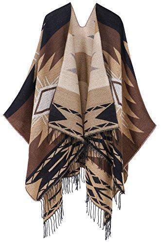 (Andorra Women's Vintage Soft Merino Wool Kimono Wrap Cardigan Ruanas w/Tassels (Vision - Coffee))