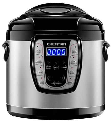Chefman Electric Pressure Cooker 9-in-1 Programmable Multicooker, Prepare Dishes in an Instant Multifunctional Slow Cooker, Rice Cooker/Steamer, Sauté, Yogurt, Soup Maker - Aluminum Pot, 1000W - 6 Qts